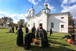 В честь знаменательного события возле церкви посажены деревья.
