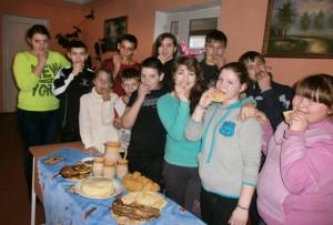 На Масленіцы ў Галубаўскай школе ўсе частаваліся блінамі