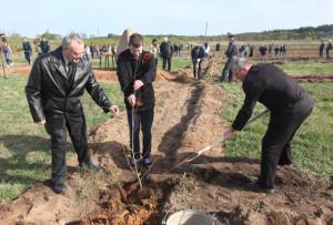 Свои деревья в парке посадили (слева направо) ветеран труда А. П. Миронов, учащийся СШ №2 Андрей Нилов, и заместитель председателя райисполкома С. П. Валкович.