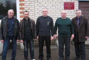 Слева направо: О. А. Новиков, А. А. Добрынец, Л. М. Вашкель, В. А. Астапкович и А. П. Шук.