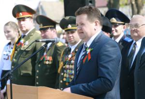 С юбилеем Победы земляков поздравил председатель райисполкома И. И. Маркович.