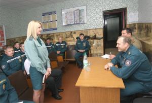 Министр по чрезвычайным ситуациям Республики Беларусь Владимир Александрович Ващенко на встрече с личным составом РОЧС.