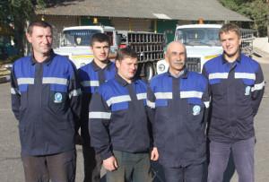 Настоящими профессионалами являются водители (слева направо) И. В. Скорбовский, С. К. Протас, О. В. Снапок, В. В. Григорьев, М. В. Карманов.